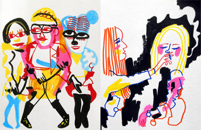 Jon Burgerman – 'Drawings of girls I've seen on tumblr'
