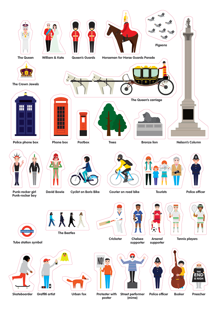 Stickyscapes London | Example character Stickers