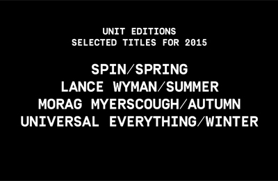 Unit Editions :: Selected Titles 2015