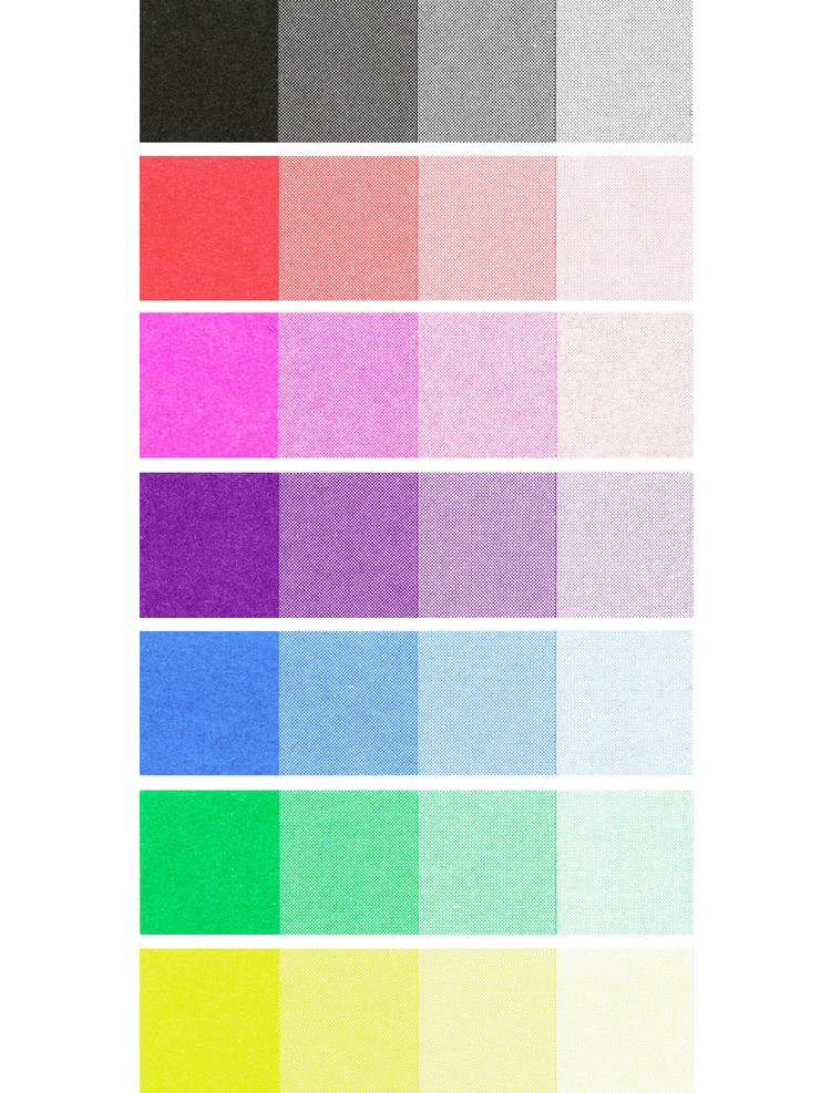 Workhorse Press colour swatches risograph