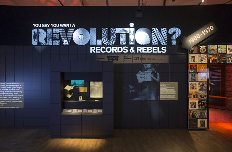 Installation image for You Say You Want a Revolution? Records and Rebels 1966—70 Photo © Victoria and Albert Museum, London